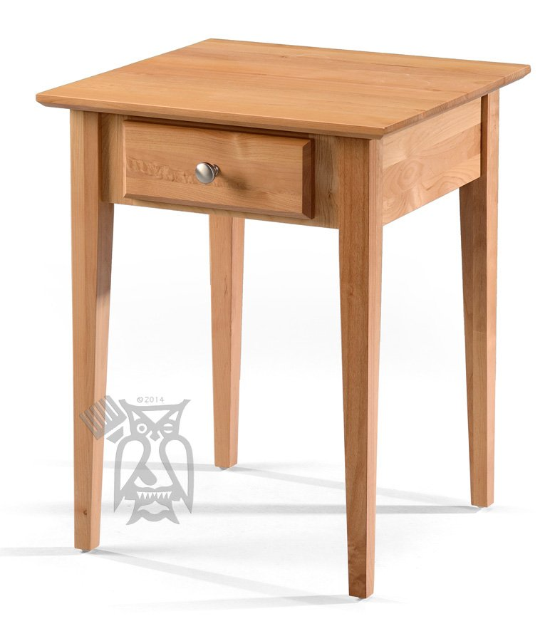 Hoot Judkins Furniture Archbold Solid Alder Wood Side Table With Drawer In Natural Finish - Solid Oak Side Table With Drawers
