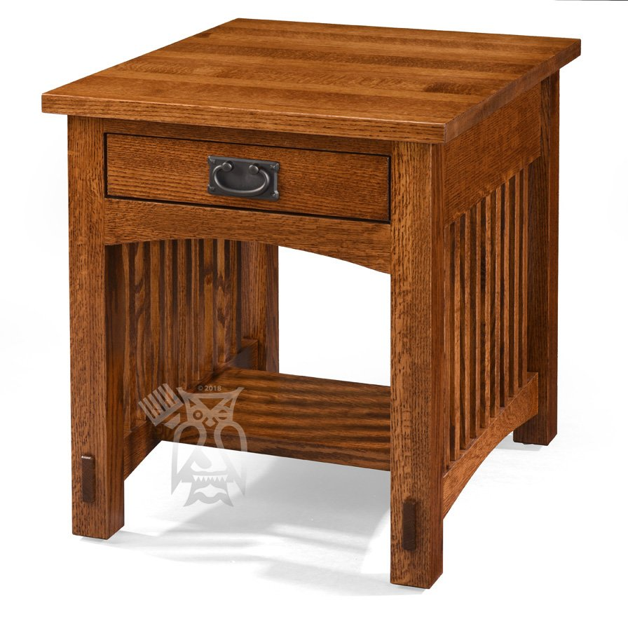 Hoot Judkins Furniture Borkholder Amish Crafted Solid Quartersawn Red Oak Wood Bungalow Mission End Table In Pecan Finish