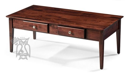 Hoot Judkins Furniture Archbold Solid Alder Wood Shaker 48 Coffee Table With Drawers In Rich Cherry Finish - Solid Oak Side Table With Drawers