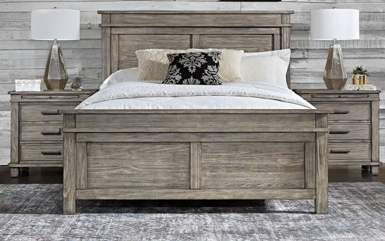 Hoot Judkins Furniture A America Solid Reclaimed Pine Wood Glacier Point Queen Panel Bed In Greystone Finish