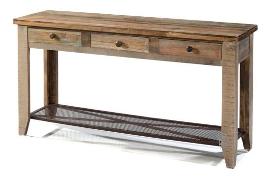 Pine Wood Rustic Console Table