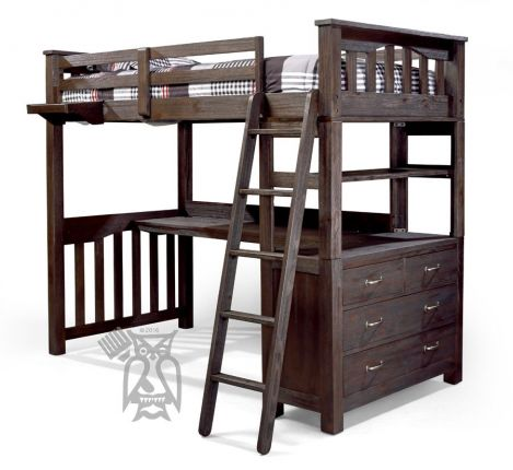 Hoot Judkins Furniture Hillsdale Solid Pine Wood Highlands Twin Loft Bed Desk Floating Tray In Espresso Finish