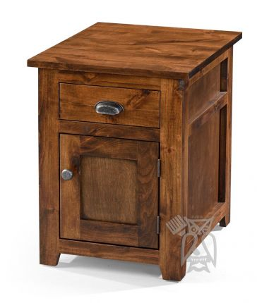 Hoot Judkins Furniture Odc Products California Made Knotty Rustic Alder Wood Storage End Table With Drawer In Rustic Coffee Finish