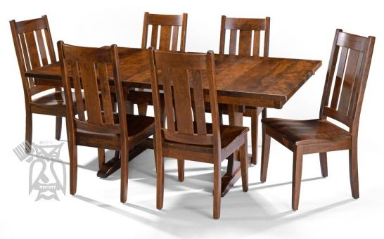Hoot Judkins Furniture Simply Amish Custom Built Amish Crafted Solid Cherry Wood Olde World Trestle Dining Table Chair Set