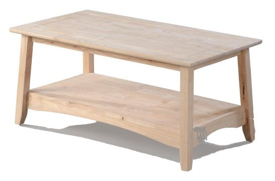 Hoot Judkins Furniture Whitewood Solid Parawood Wood Bombay Coffee Table Unfinished