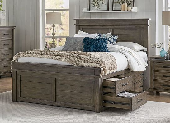 Hoot Judkins Furniture A America Solid Reclaimed Pine Wood Glacier Point Queen Size 9 Drawer Captains Storage Bed In Greystone Finish