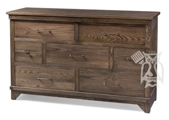 Hoot Judkins Furniture Fusion Designs Amish Crafted Solid Oak Wood Cedar Lakes 7 Drawer Dresser In Pebble Finish