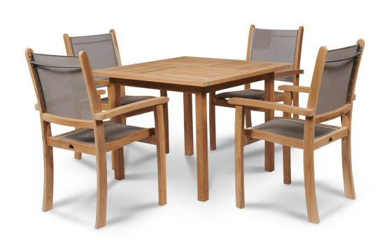 Hoot Judkins Furniture Hiteak Furniture Solid Teak Wood Outdoor Birmingham Square Dining Table With Pearl Chairs