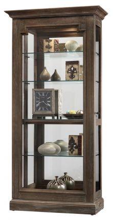Howard Miller Caden II Curio Cabinet 680-608 Aged Auburn Finish Home Decor Five Level Display Case No-Reach Halogen Light Four Glass Shelves Locking Slide Door