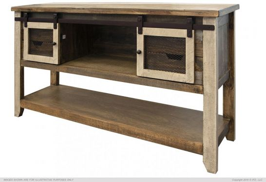 Pine Wood Antique Storage Sofa Table