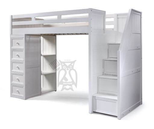 Jay Birch Wood Twin Loft Bed With Staircase In White Finish
