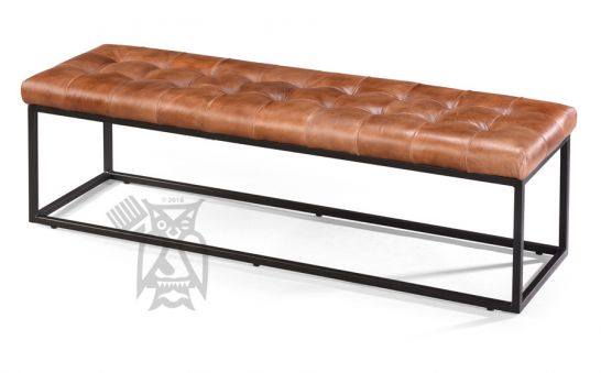 Jofran Metal And Genuine Leather 55 Long Ottoman Bench In Light