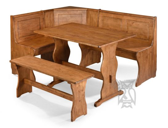 Whitewood Solid Parawood Wood 5 Piece Corner Dining Breakfast Nook