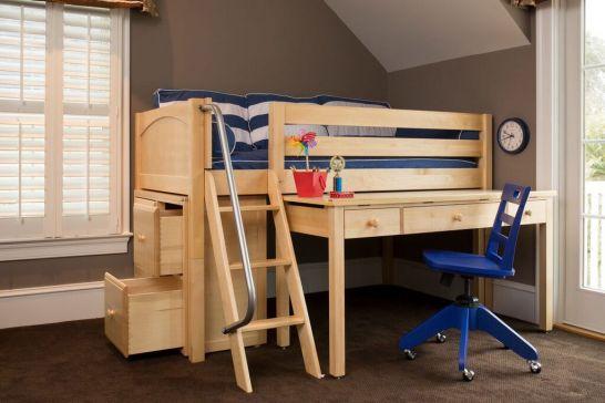 Maxtrix Solid Wood Framed Kicks10 Low Loft Storage Bed With