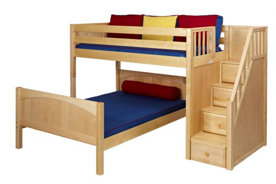 Hoot Judkins Furniture Maxtrix Solid Wood Framed Wiggle Low Bunk Bed Twin Over Full With Staircase