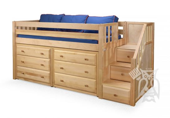 Hoot Judkins Furniture Maxtrix Solid Wood Framed Great3 Low Height Storage Twin Loft Bed With Staircase In Natural Finish