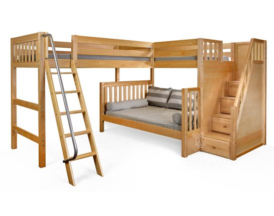 Hoot Judkins Furniture Maxtrix Solid Wood Framed Triathlon Twin Over Full Bunk Bed With Twin Loft Bed Staircase Ladder System In Natural Finish
