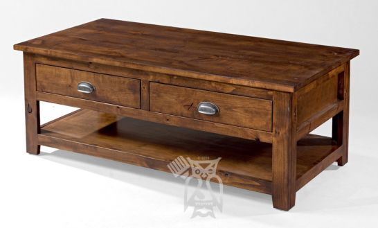Hoot Judkins Furniture||ODC Products||California Made Knotty Rustic Alder  Wood Coffee Table With Drawer In Rustic Coffee Finish