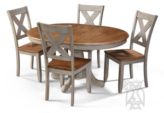 Hoot Judkins Furniture Winners Only Solid Parawood Barnwell Round Extension Kitchen Table Four X Back Side Chair Set In Rich Grey Brown Two Tone Finish